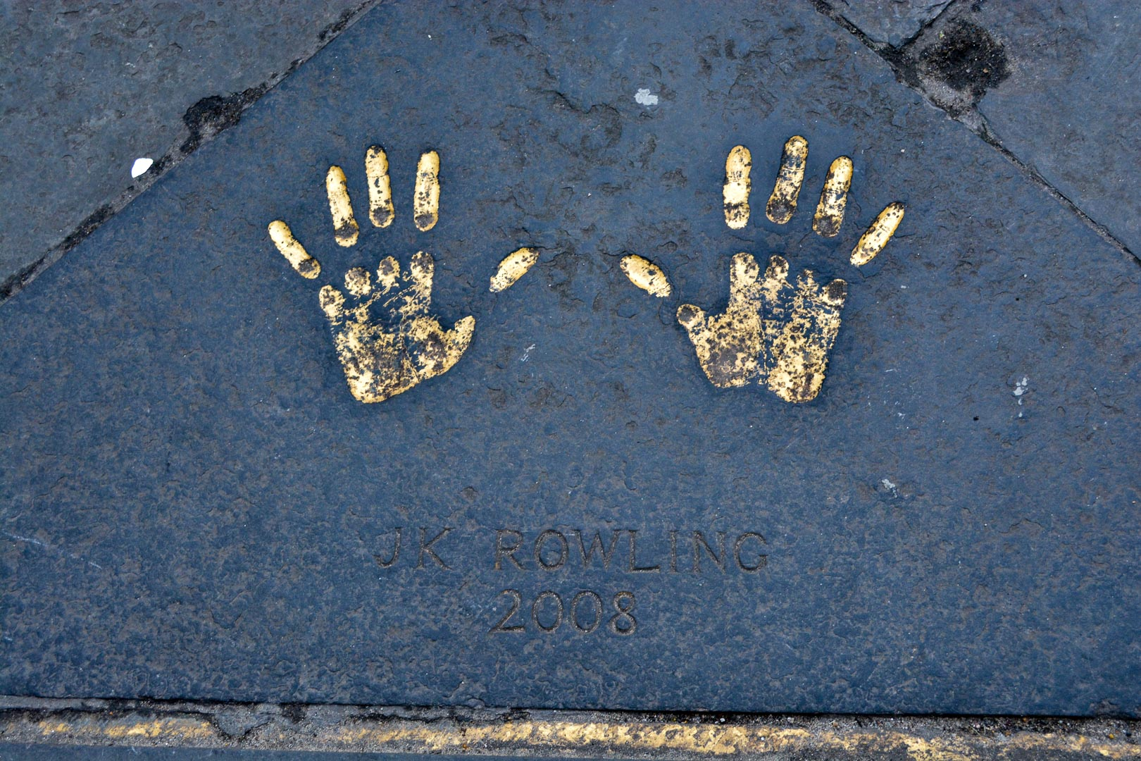 JK Rowling's handprints. The guide said her hands were tiny. When I put my hands inside of hers to compare Bryan laughed hysterically because mine were even smaller.