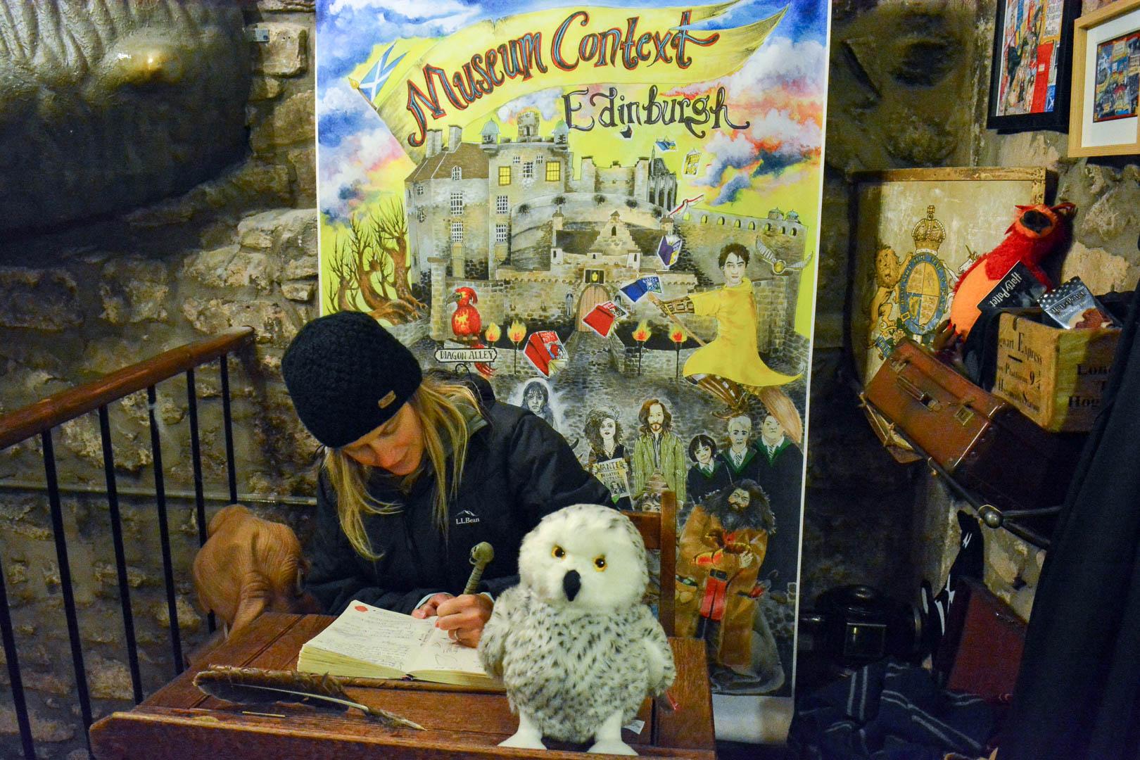 Working hard at Hogwarts. Do you like my owl?