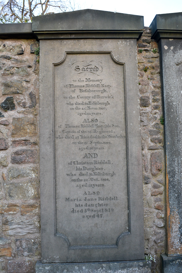 Thomas Riddell's grave—the poor guy unknowingly has a very bad reputation now with Harry Potter fans