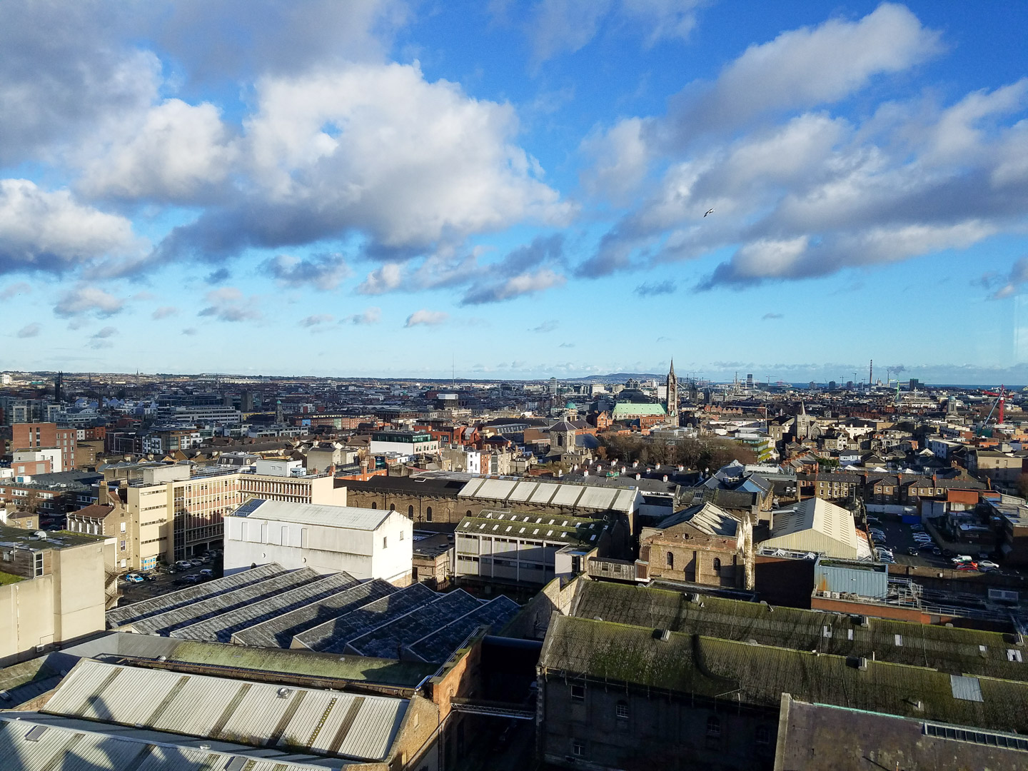 Skyline of Dublin from Guinness gravity bar…….can you spot the Spire? It's really hard to see