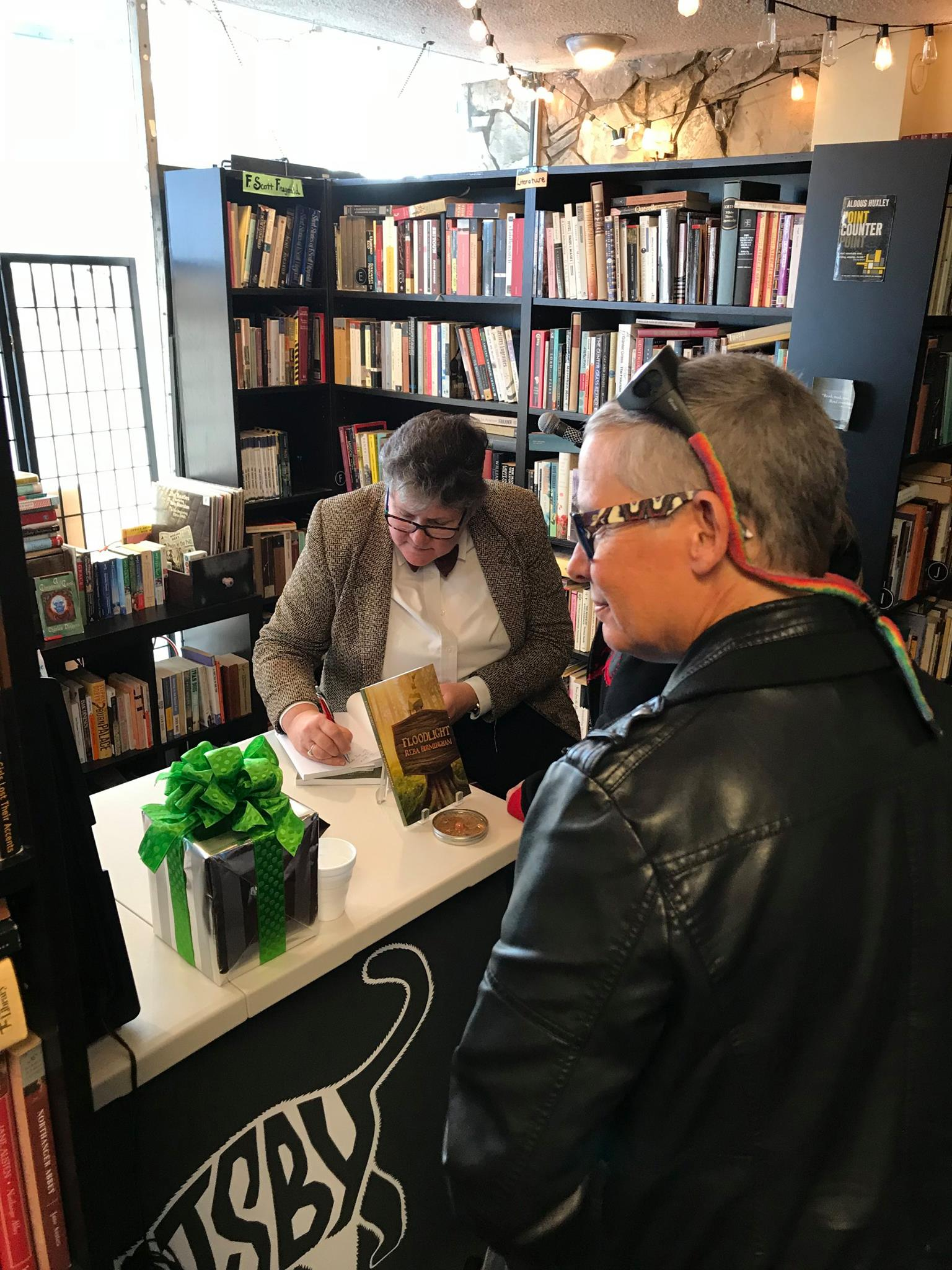 Reba Birmingham signing books at Gatsby Books bookstore in Long Beach, California