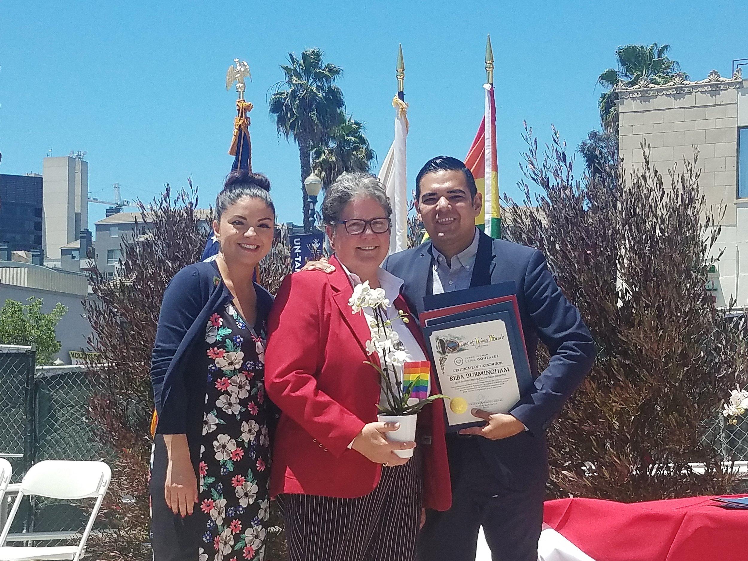 Lena Gonzalez Reba Birmingham Mayor Robert Garcia award.jpg
