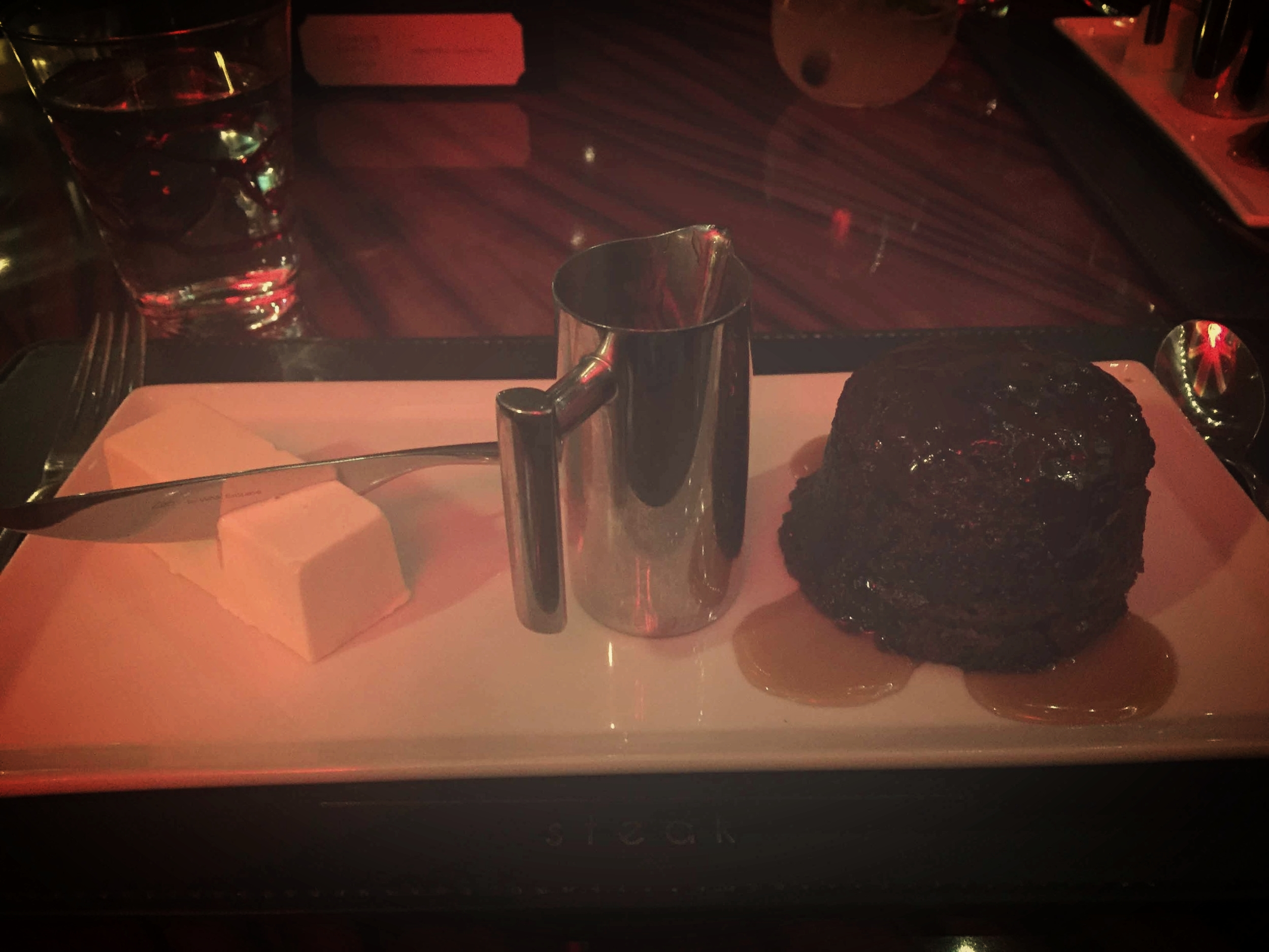 Gordon Ramsey's STEAK at Paris: Sticky Toffee Pudding (note the ice cream served to look like butter)