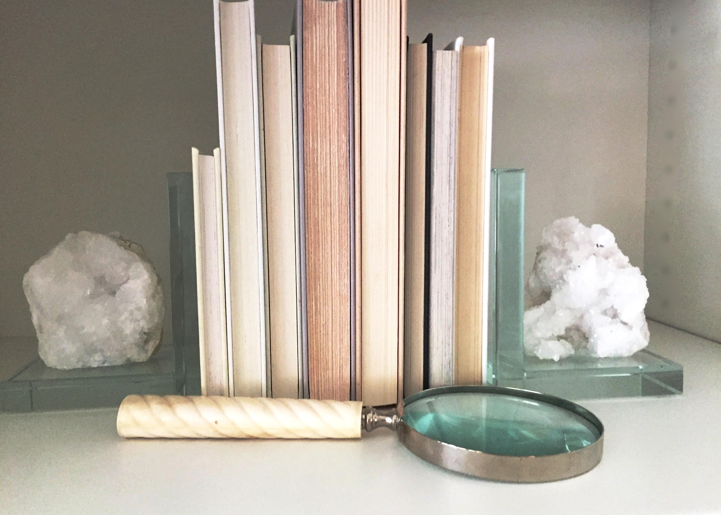 Geode bookends and magnifying glass from HomeGoods