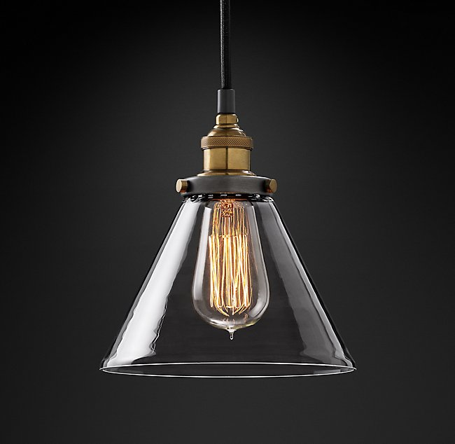 Bar Pendants -  Restoration Hardware 20th Century Filament Funnel Pendant