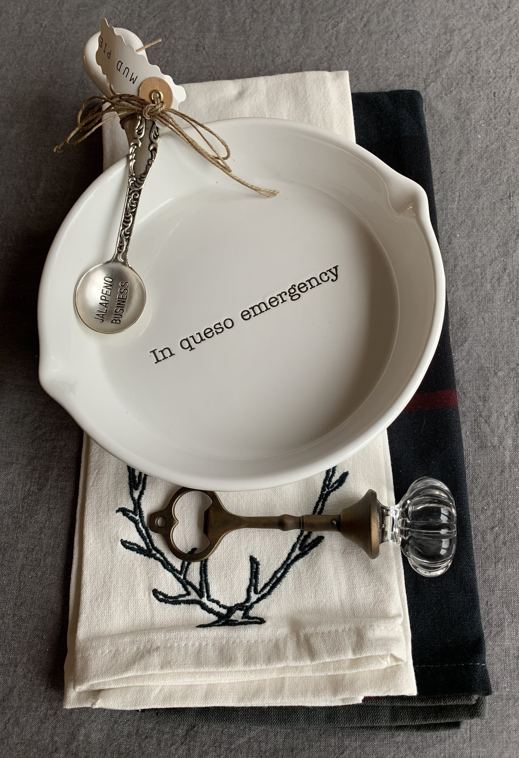 Mud Pie dish and bottle opener (GG Pretty Things, Chanhassen & Prior Lake MN) with Hearth and Hand towels