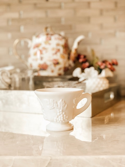 Milk glass teacups ($0.99 each, 4 for $3.96)