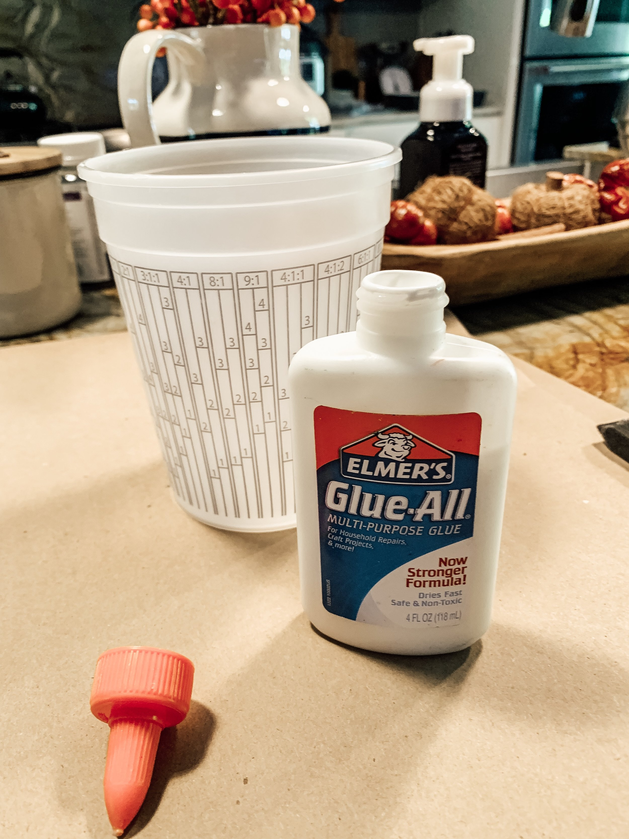 Mix glue and water to make a water glue mixture