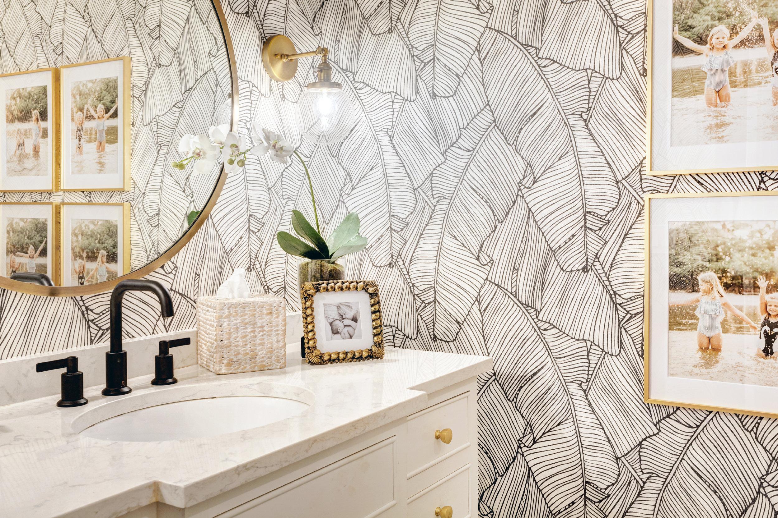 Guest Bathroom Refresh Palm Leaf Wallpaper Bathroom Nicki Pasqualone