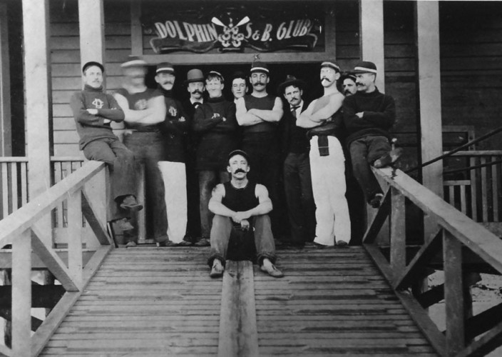 Dolphin Club members in front of their club house in 1890's.