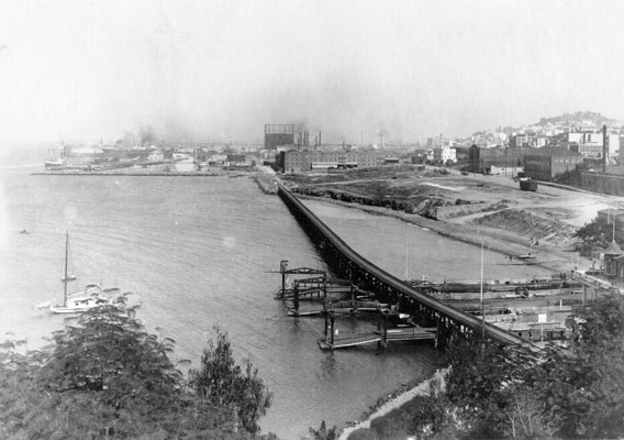 View of Aquatic Park from Black Point with The State Belt Railroad crossing the cove in the 1930's.