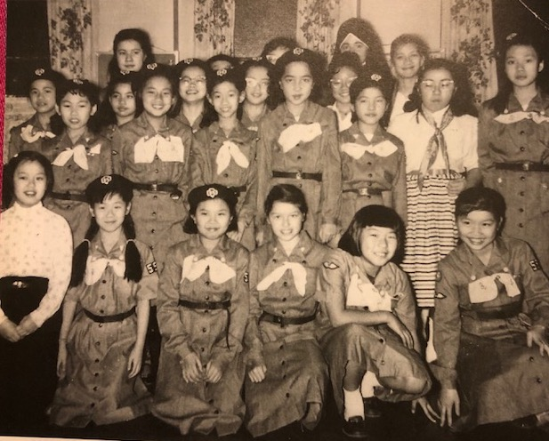 Maryknoll Sisters Center Brownie Troupe, c. 1960. Cynthia Yee is second row, third from the right. Jennie Chin (front row third from left) is now a national leader and advocate in geriatric care