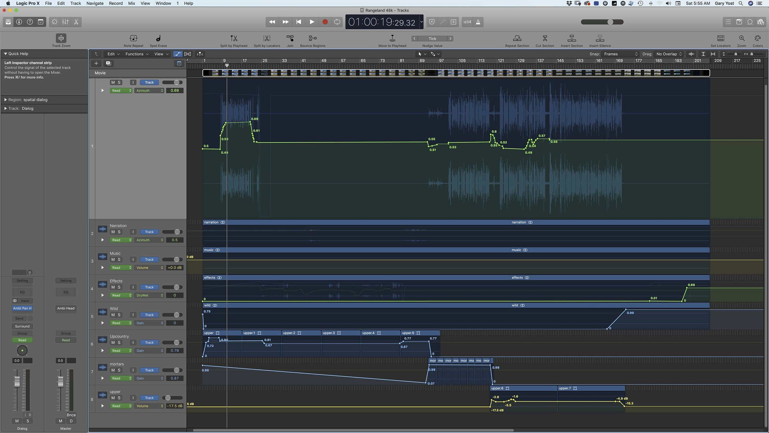 Apple Logic UI showing the dialog track with azimuth keyframes.