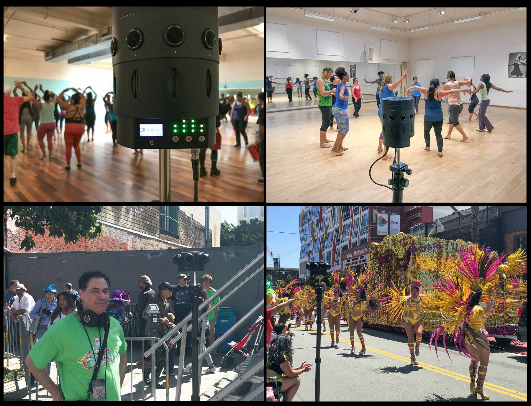 The prototype V1 at the Mission Cultural Center with Fogo na Roupa (upper left) and at Dance Mission Theater (at Tania Santiago's class, upper right). Below left is David Lawrence running location sound at the Grand Parade on Mission Street and the Fogo na Roupa company in the lenses of the V1 Pro. Go Fogo!