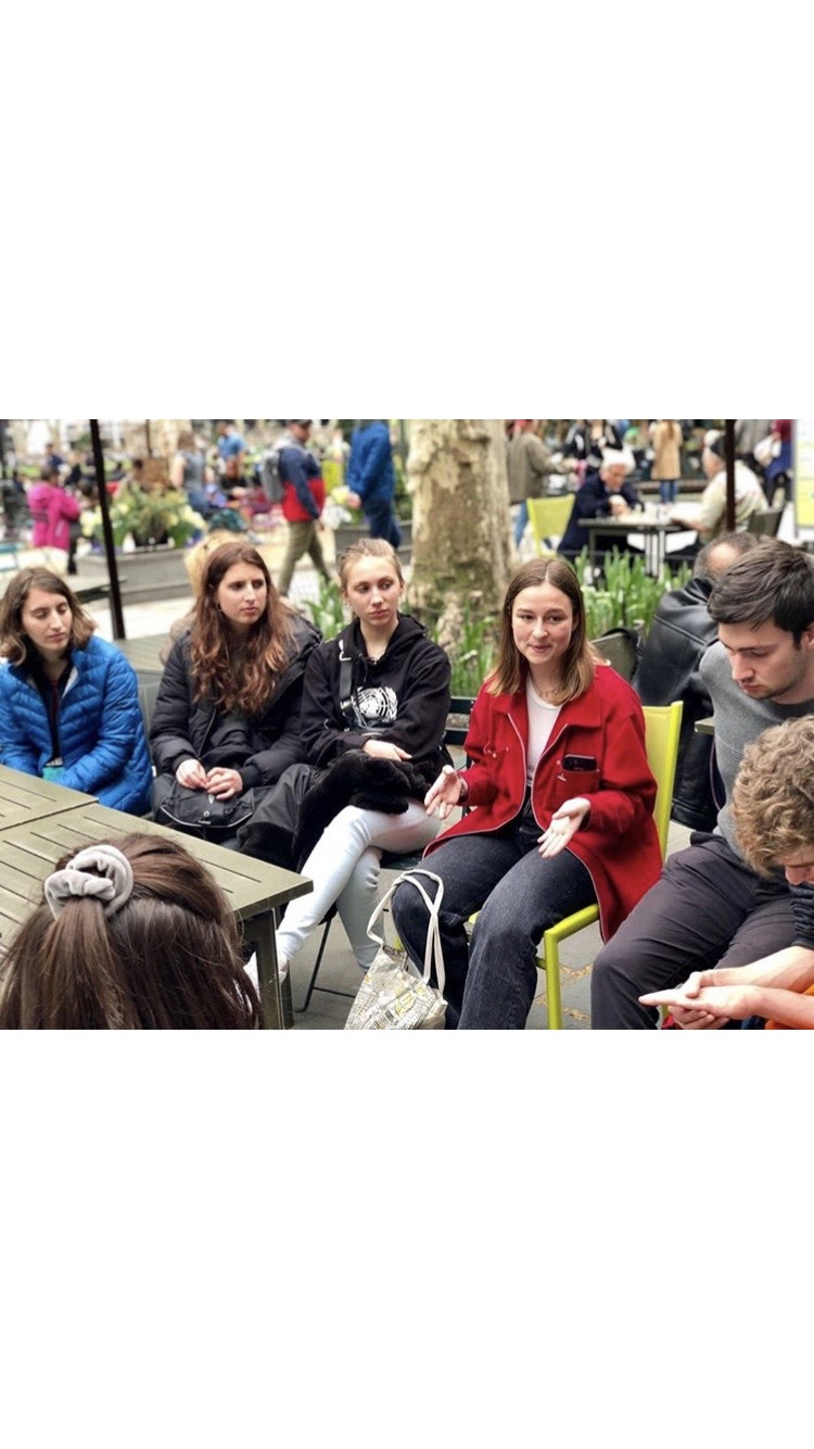 Sophie spoke about Catcalls of NYC and gender roles with a group of german students from the organization YouthBridge Munich.