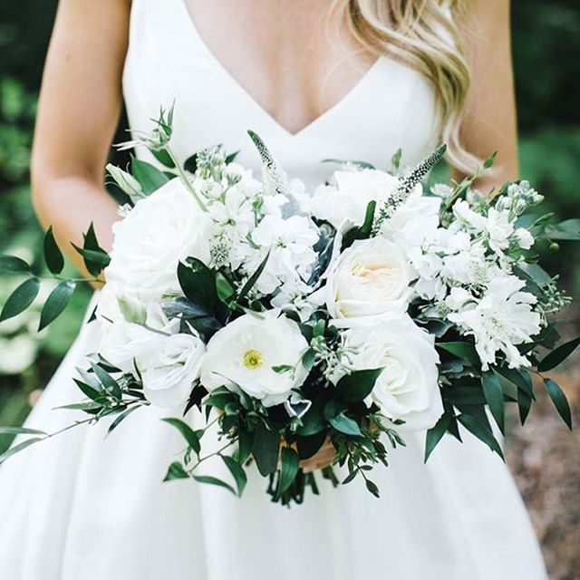 White on white on white 👰🏼 Quick tip: If you want a fuller bouquet without spending a gazillion dollars - add greenery! PS Have you read my wedding budget article yet?! Read it so you don't blow it (your budget) 🤑 #weddinginspo #weddingseason #weddingplanning #weddingwednesday #isaidyes #engaged #weddingbudget #weddingplanningtips #bouquet #bridetobe