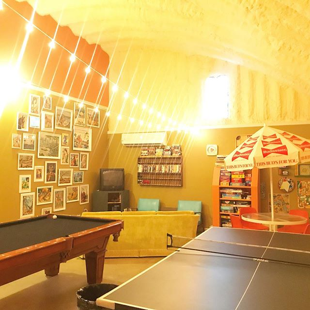 """One of our guests recently told me that our game room reminded him of his grandparent's basement. My response was: """"Your grandparents must be awesome""""."""