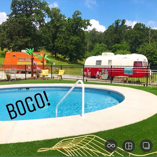 "The weather is beautiful (hot af), the pool is open (not for long) and this weekend (tomorrow), book a trailer and get Saturday night FOR FREE. All trailers are currently available except ""The Pink Fuzzy Unicorn"". Offer valid this weekend only, non-transferable, blah blah blah."