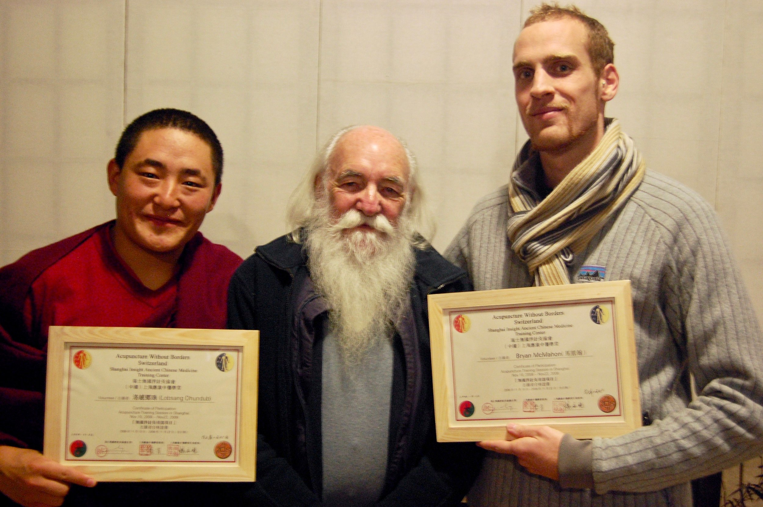 Receiving a certificate of completion of level one training from AWB Switzerland founder Jacques Pialoux (Shanghai, China)