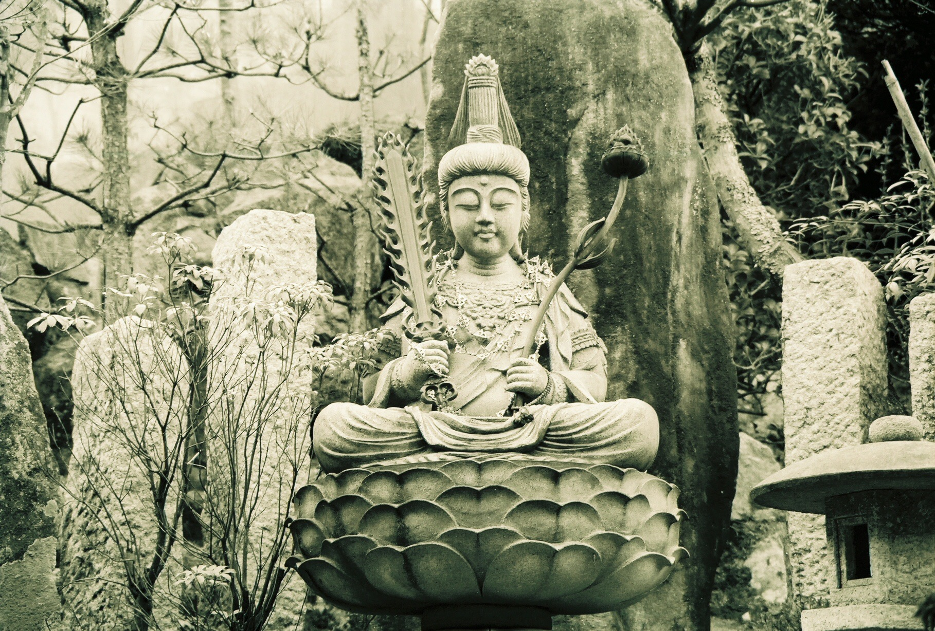 Manjushri keeps compassionate watch with his flaming sword of wisdom (Shikoku, Japan)