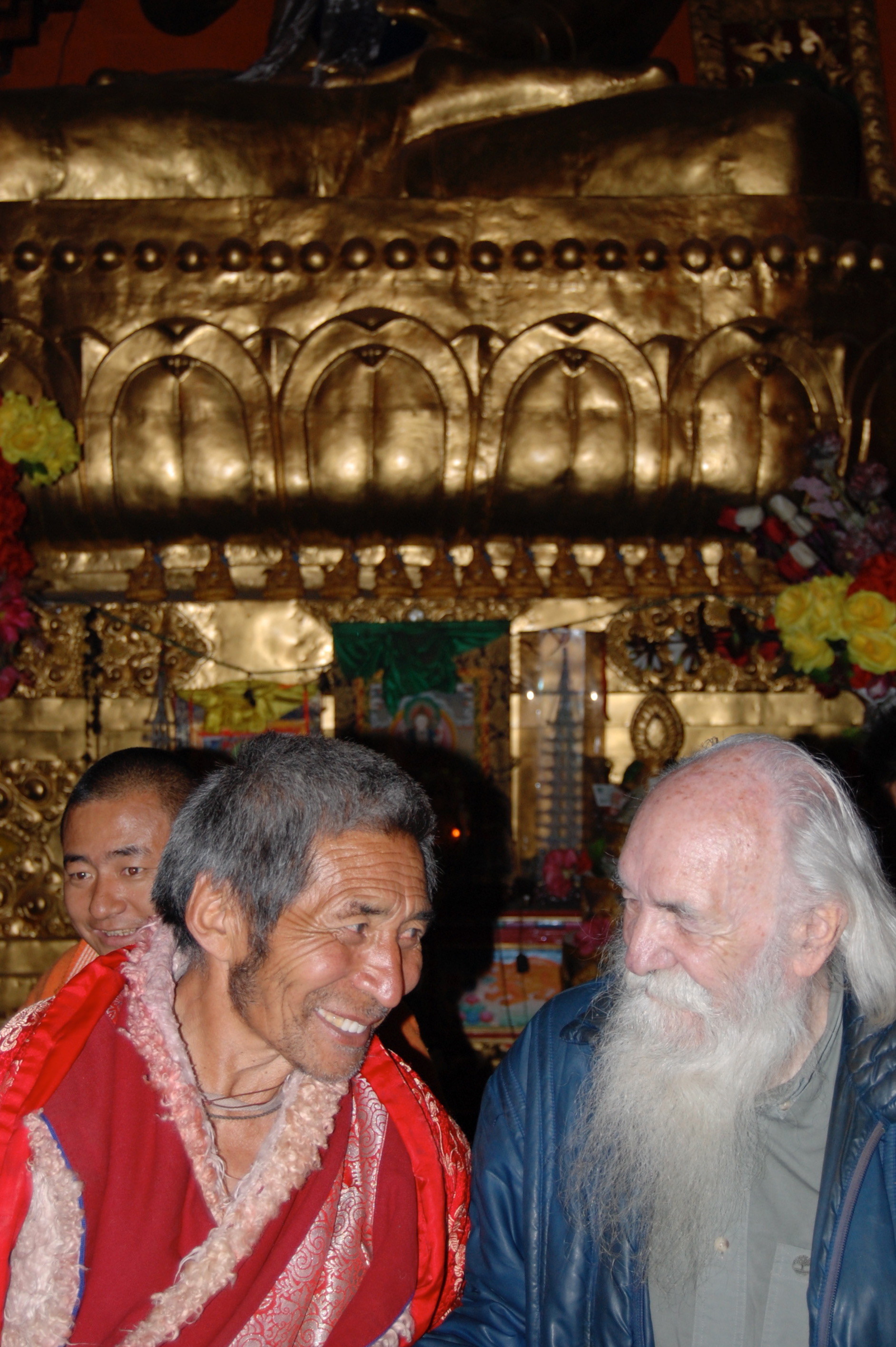 Long lost karmic brother reunited. Jacques Pialoux together with a senior Lama who had come out of a ten year retreat to welcome us (Kham Region, Sichuan)