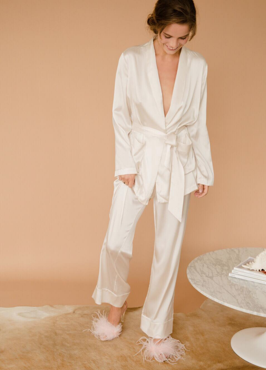 The Silk Collection by Maggie Wu Studio - Featuring the silk robe and wide leg pants.
