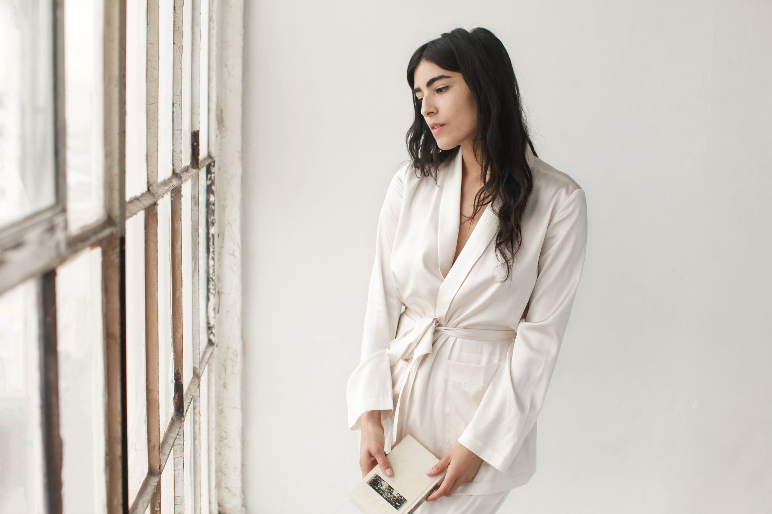 The comfortable, soft silk robe can later be worn at home as loungewear. Photo by  Kristine Lo .