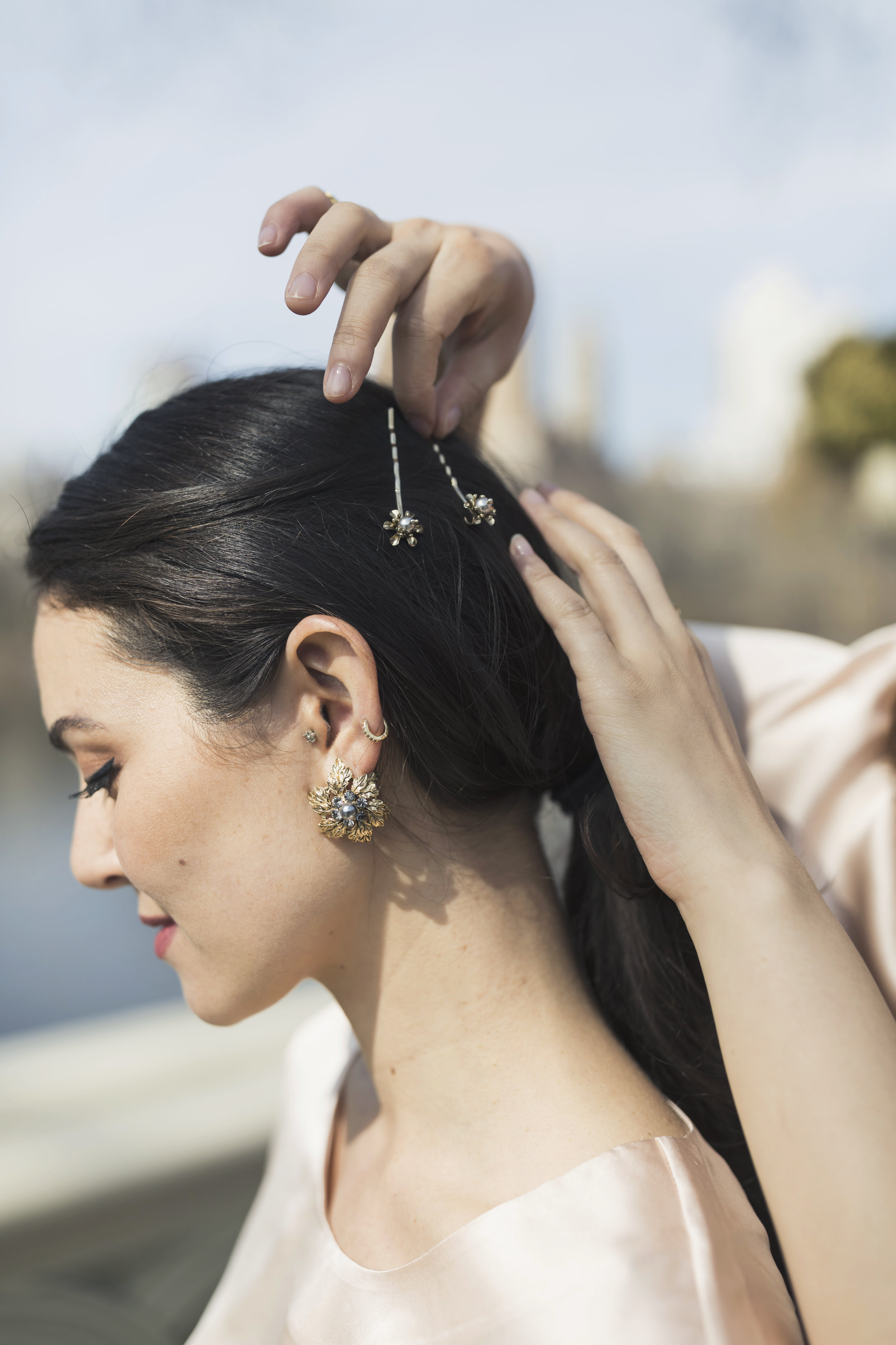 The Lily Bobby Pins are the perfect finishing touches to any hair style. Photo by  Ashley Gallerani .