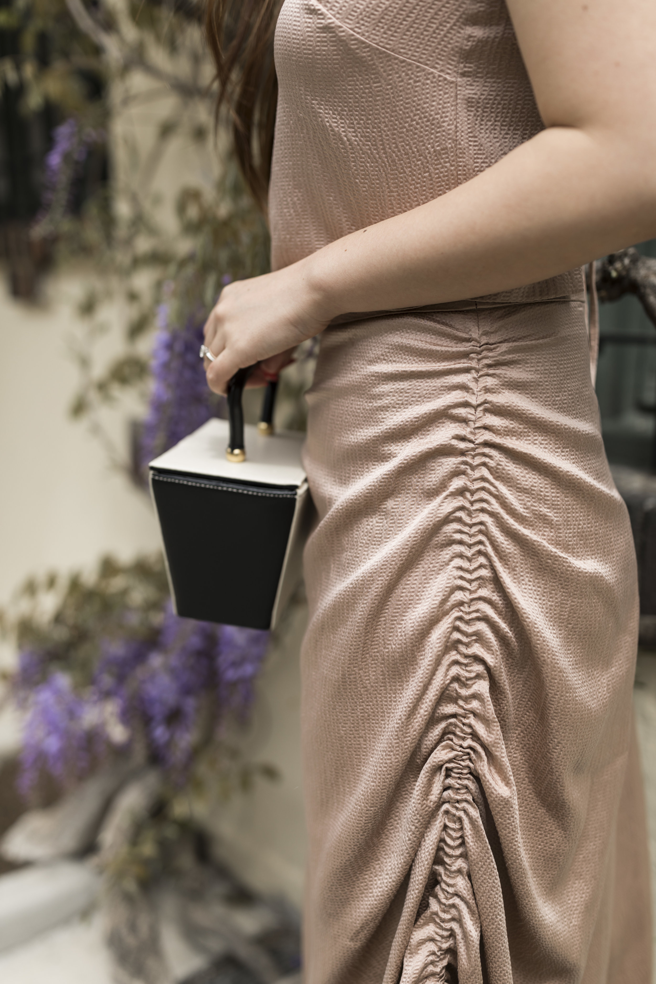 The hammer satin skirt by Donna Zhong is another great summer piece that can be dressed up or down. Photo by Ashley Gallerani.