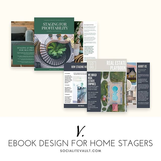 Home stagers, are you trying to attract real estate agents, builders, or investors? Our Real Estate Playbook templates prove you're on their team and are a great way to showcase your work and explain your process. Plus, it's a sneaky way to get more listing agents on your mailing list.  Get a 14 day free trial at www.SocialiteVault.com