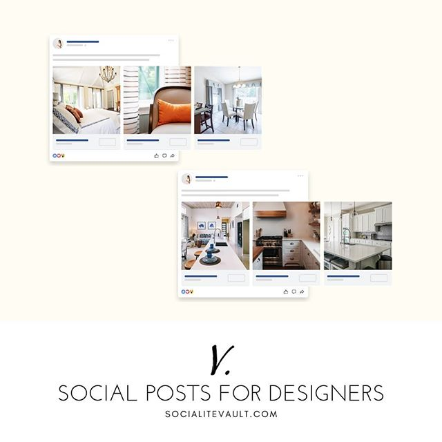 """""""I don't know what to post on Facebook or Instagram to promote my interior design business."""" We hear this often, and that's why we created hundreds of social media posts to fit nearly every interior design aesthetic. No matter how or what you design, you'll find images and captions to match just about anything you wan to promote.  Get a 14 day free trial at www.SocialiteVault.com"""