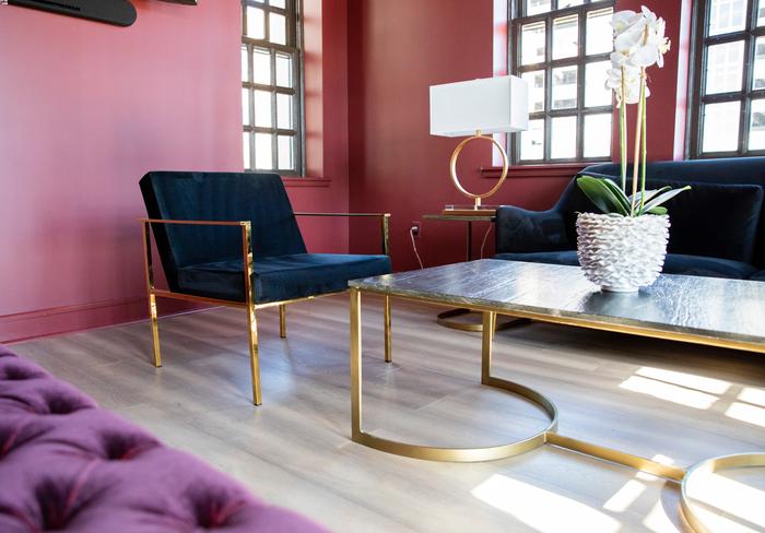 modern living room brass framed chairs navy violet velvet pink red walls.png