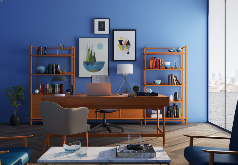 home office blue background modern art comfortable chair books color view.png