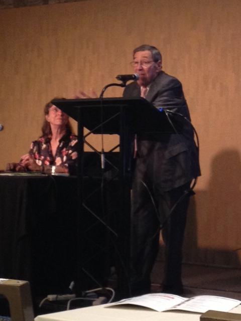Photo: Gary Pillersdorf doing his thing at the Belli seminar with Linda Atkinson looking adoringly on.