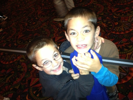 Photo: My nephews - not pretending not to be angry.
