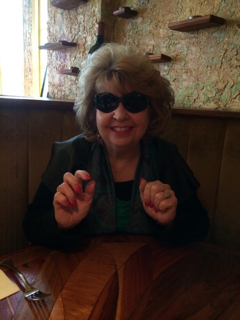 Photo: Anne showing up with her sunglasses. on a completely overcast slightly dreary morning.