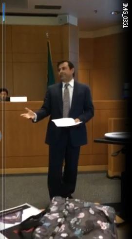 Photo: Dan'l Bridges giving the defense opening statement at the Advanced Trial Advocacy Program at Seattle U Law School today. Hon. Judge John Chun presiding.