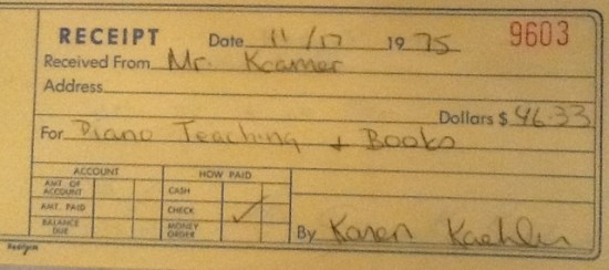 Photo:  Carbon copy of a receipt directed to the bad student's dad.  Note the misspelling of Mr. Kremer's last name.