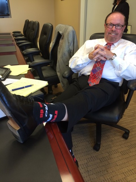 Photo:  Paul Stritmatter.  Showing off his cool socks.  Right before we walked out of a mediation earlier in the month.