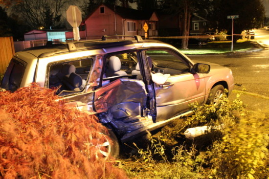 Photo by Seattle Police Department of the t-boned vehicle