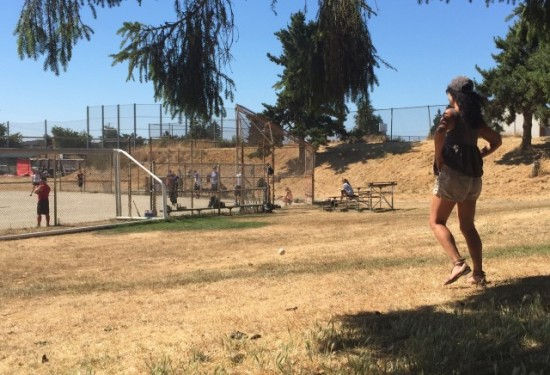 Photo: me doing happy dance last weekend during Sol's softball match .