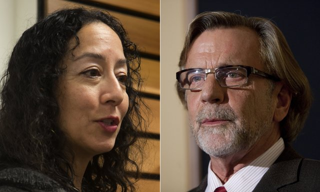 Attorneys Karen Koehler, left, and John Henry Browne are battling in court and in real life. (Ellen M. Banner/The Seattle Times)