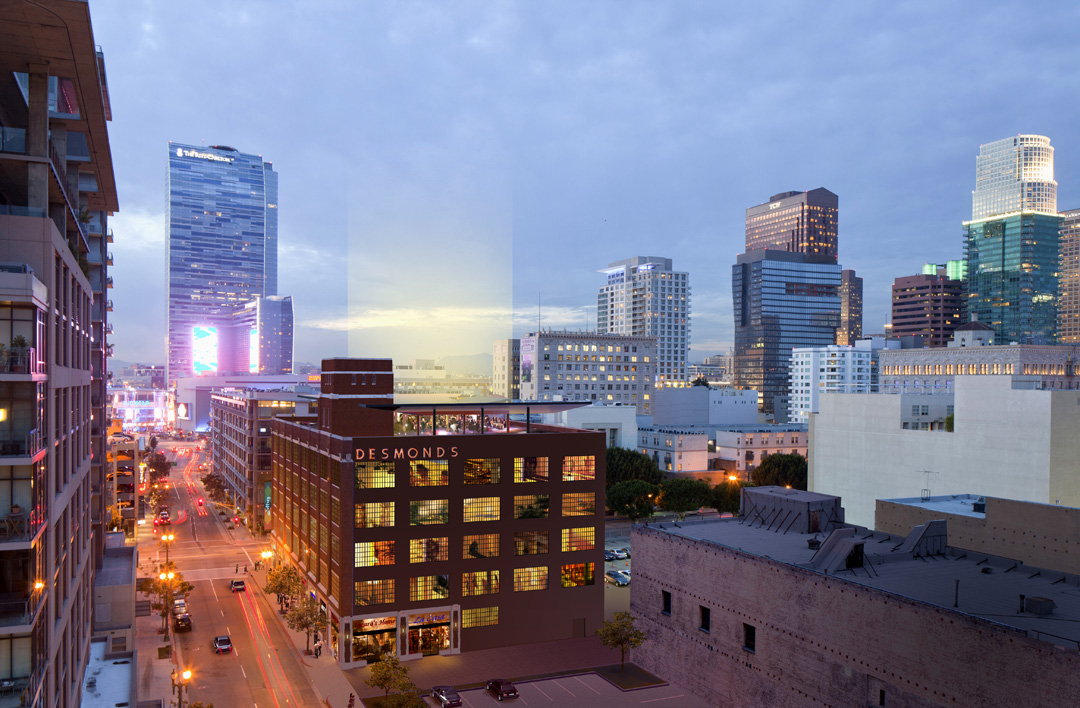 - An evening view of the building looking west toward LA Live