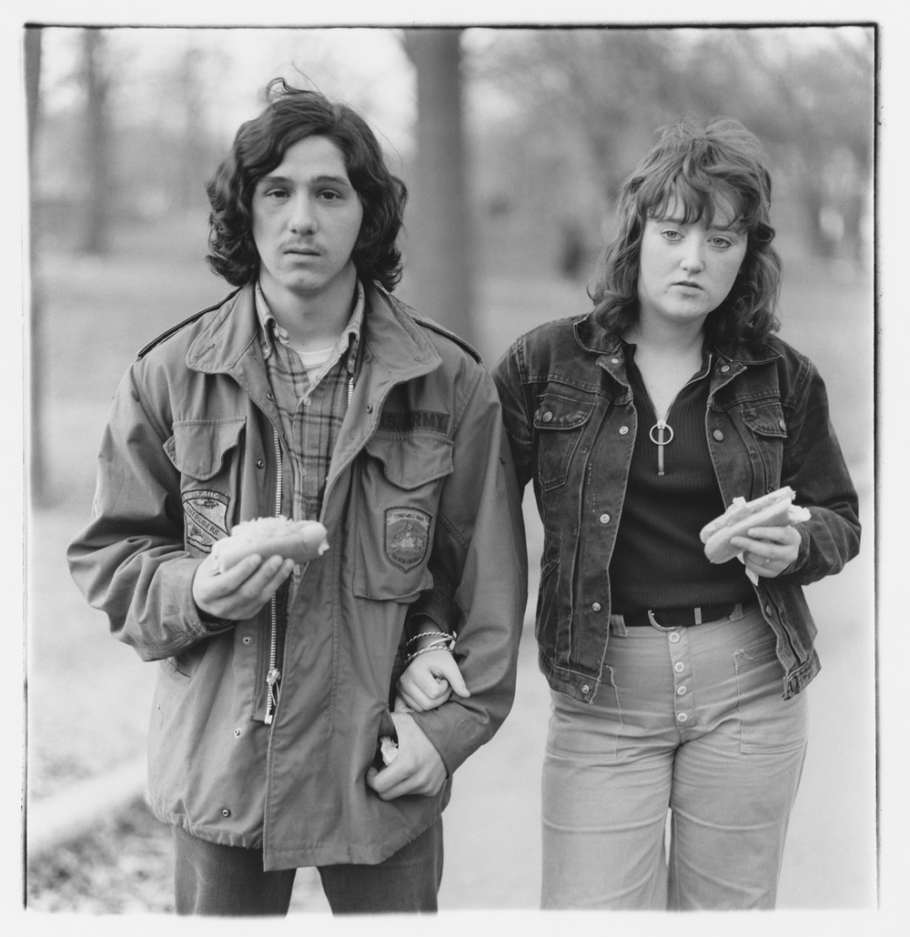 Arbus, A young man and his girlfriend with hot dogs in the park nyc, 1971