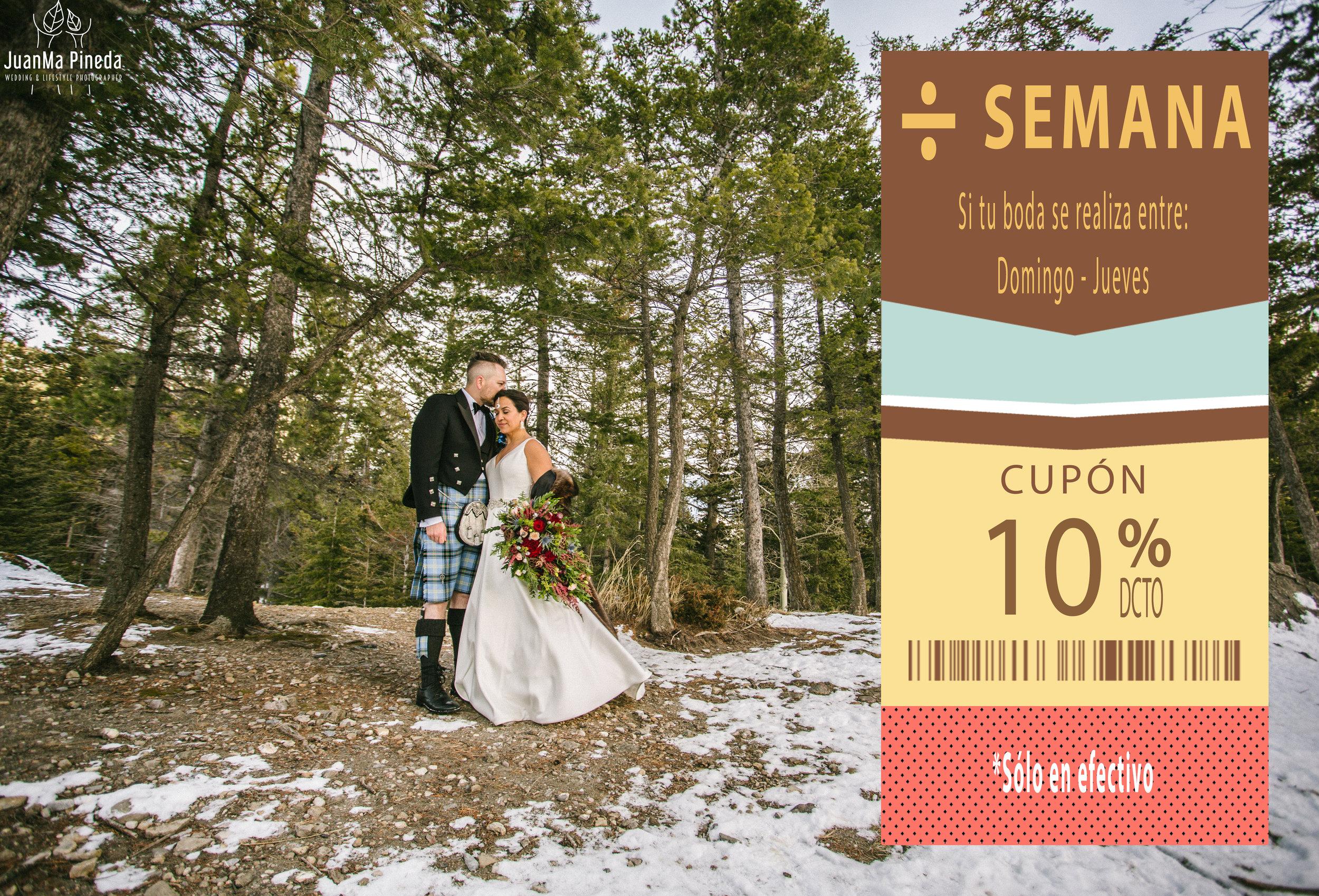 10%DESCUENTO ÷ SEMANA - Si tu boda se realiza entre domingo-jueves obtienes un -10% de descuento (Pagos sólo en efectivo). Cupón disponible en formato PDF. Imprímelo o descárgalo, y preséntalo al momento de contratar para disfrutar de este beneficio.