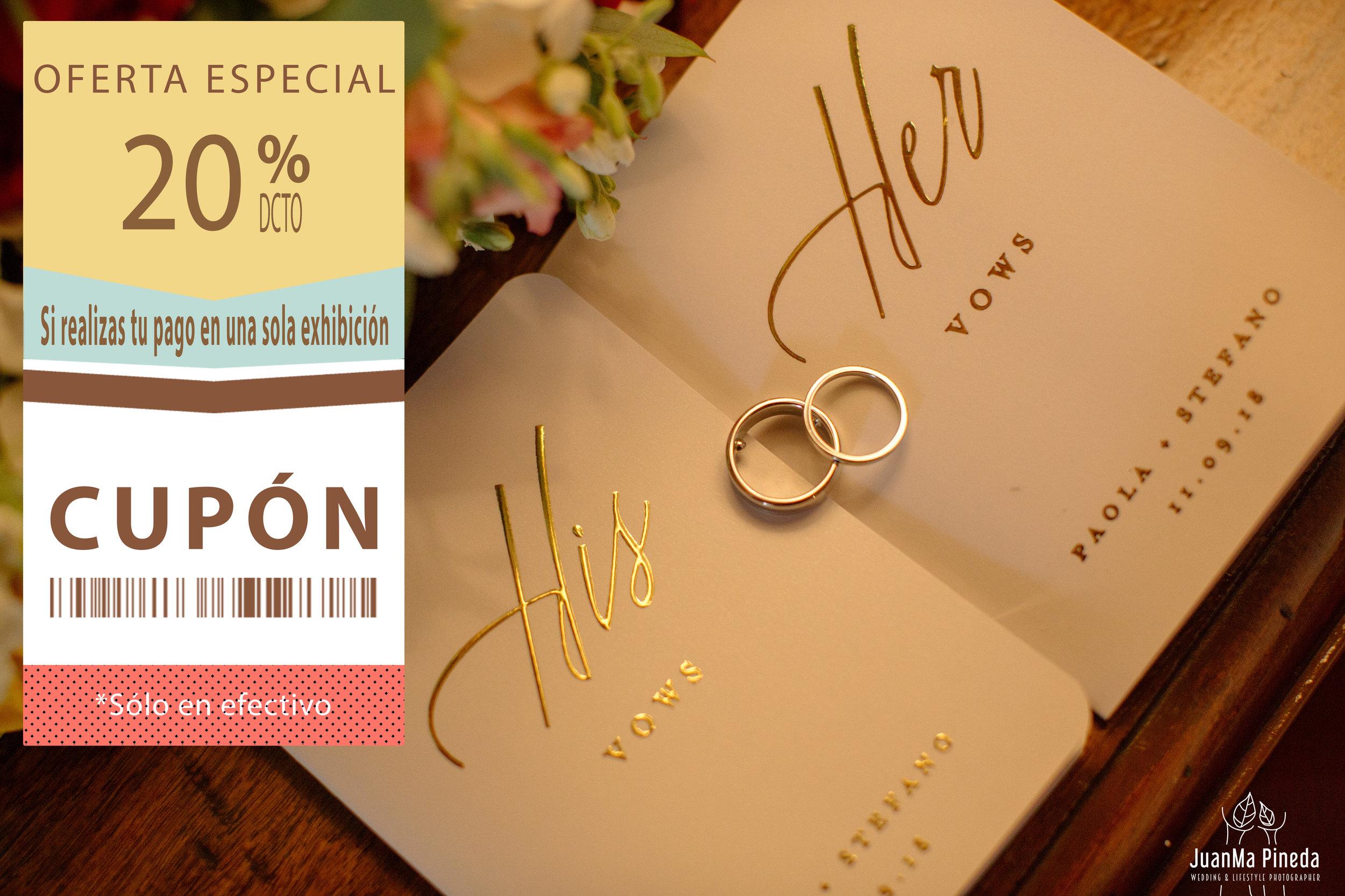 20%DESCUENTO   1EXHIBICIÓN - Si realizas el pago de tu paquete de boda en una sola exhibición. Cupón disponible en formato PDF. Imprímelo o descárgalo, y preséntalo al momento de contratar para disfrutar de este beneficio.