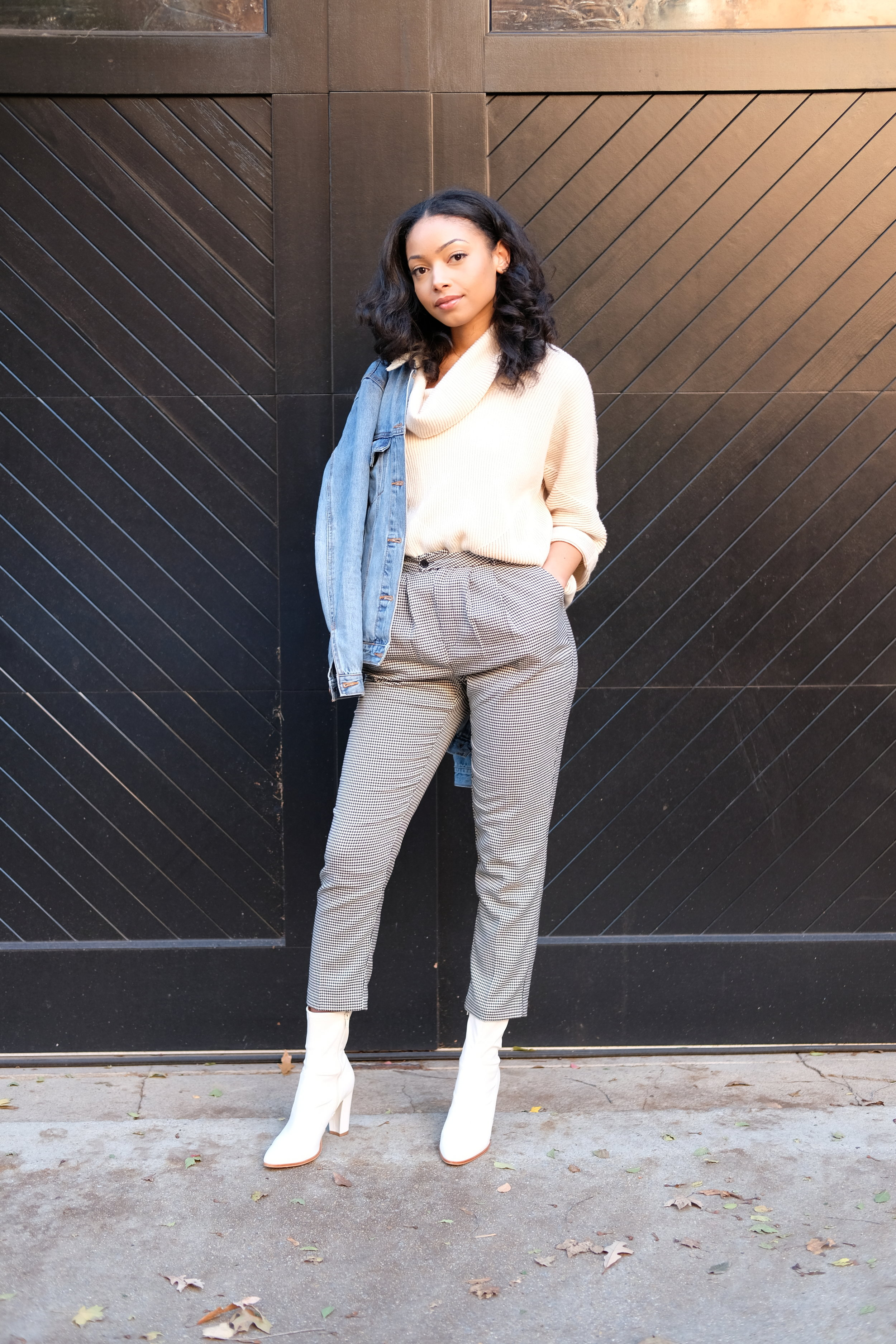 - Outfit Details:Sweater: TJ Maxx; similar style from Target; similar style from H&MPants: Forever 21Jacket: Forever 21; similar style from H&M; similar style from TopShopBoots: TJ Maxx; similar style from Steve Madden; similar style from Express