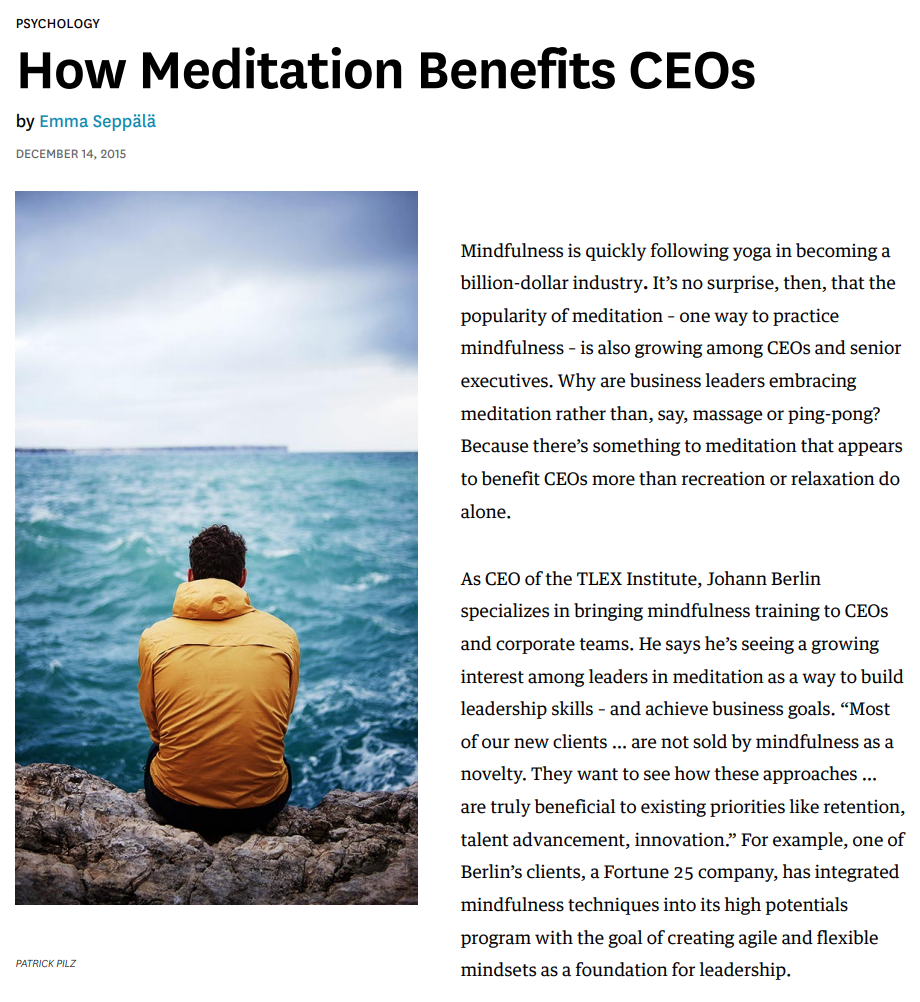 HBR - How Meditation Benefits CEO's