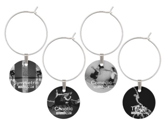 Dichotomies (B) Set of 4 Wine Glass Tags - $20.30 + tax and shipping