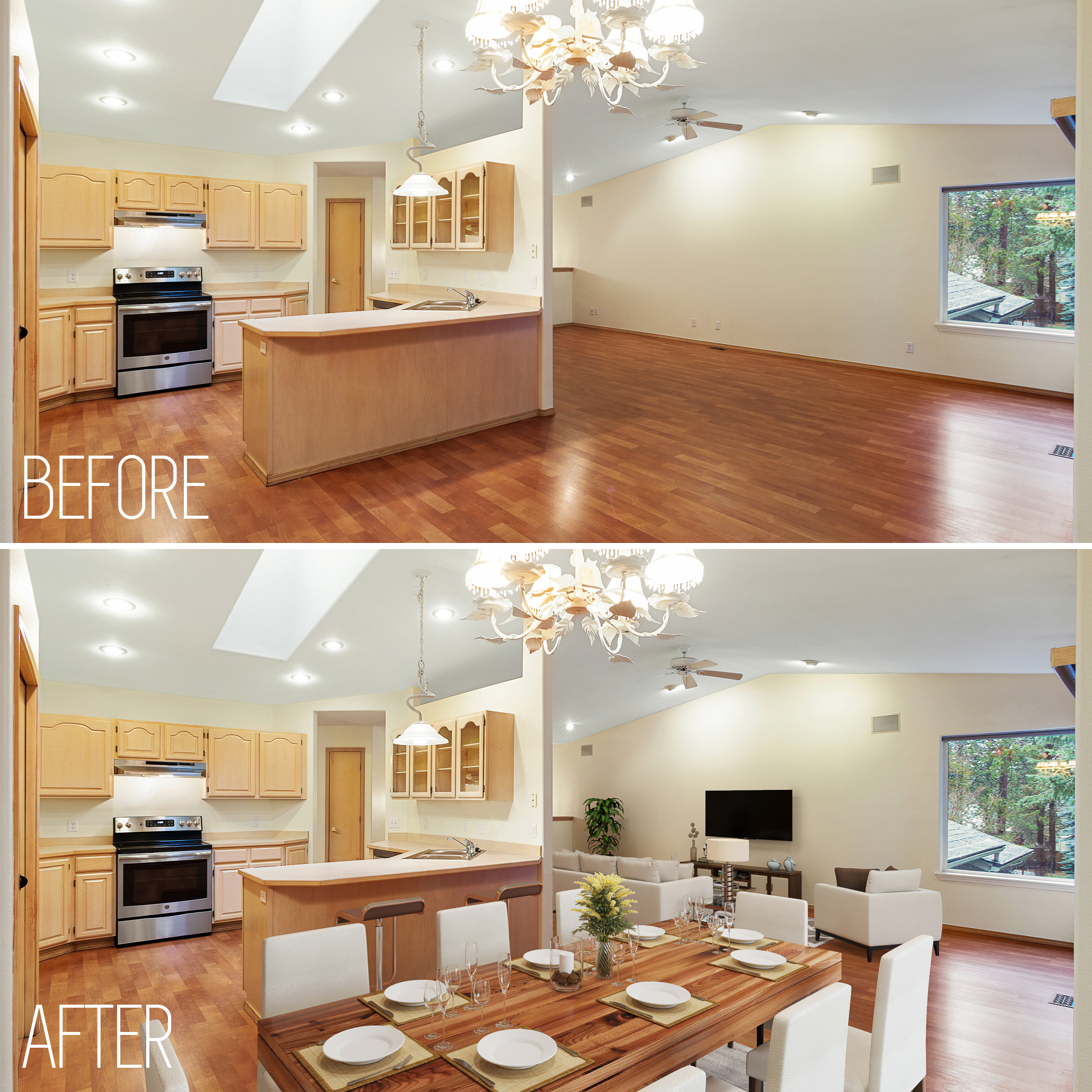 Virtual staging makes a vacant home much more attractive to potential buyers
